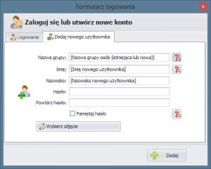 Formularz dodawania nowego użytkownika