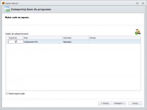 Import danych z FD1 - wybór użytkowników do importu