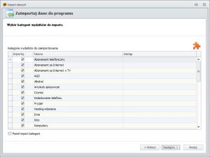 Import danych z FD1 - wybór kategorii wydatków do importu