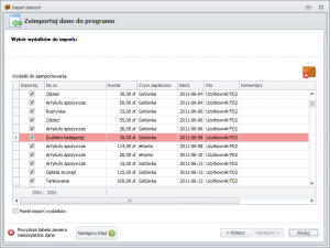 Import danych z FD1 - wybór wydatków do importu
