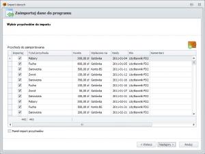 Import danych z FD1 - wybór przychodów do importu