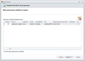 Import danych z FD1 - wybór planowanych wydatków do importu