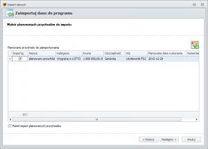 Import danych z FD1 - wybór planowanych przychodów do importu