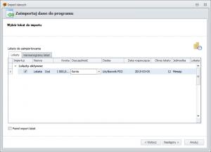 Import danych z FD1 - wybór lokat do importu